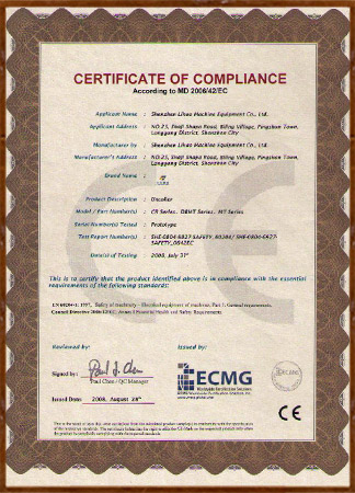 Certificate of Compliance (for Uncoiler)